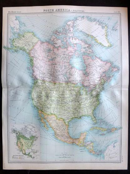 Bartholomew 1922 Large Map. North America, Political